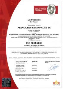 Aleaciones Estampadas, S.A. - AESA has been certified since 2005 in ISO 9001