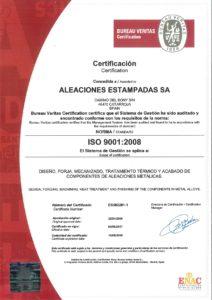Aleaciones Estampadas, S.A. - AESA Certificada desde 2005 ISO 9001