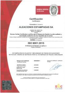 AESA_CERTIFICADO CALIDAD ISO 9001-2015 válido hasta Agosto de 2020