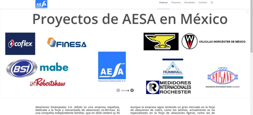 Nueva web AESA proyectos México forja aluminio y latón